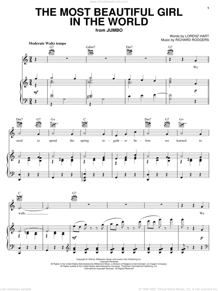 The Most Beautiful Girl In The World sheet music for voice, piano or guitar by Rodgers & Hart, Frank Sinatra, Lorenz Hart and Richard Rodgers, intermediate skill level