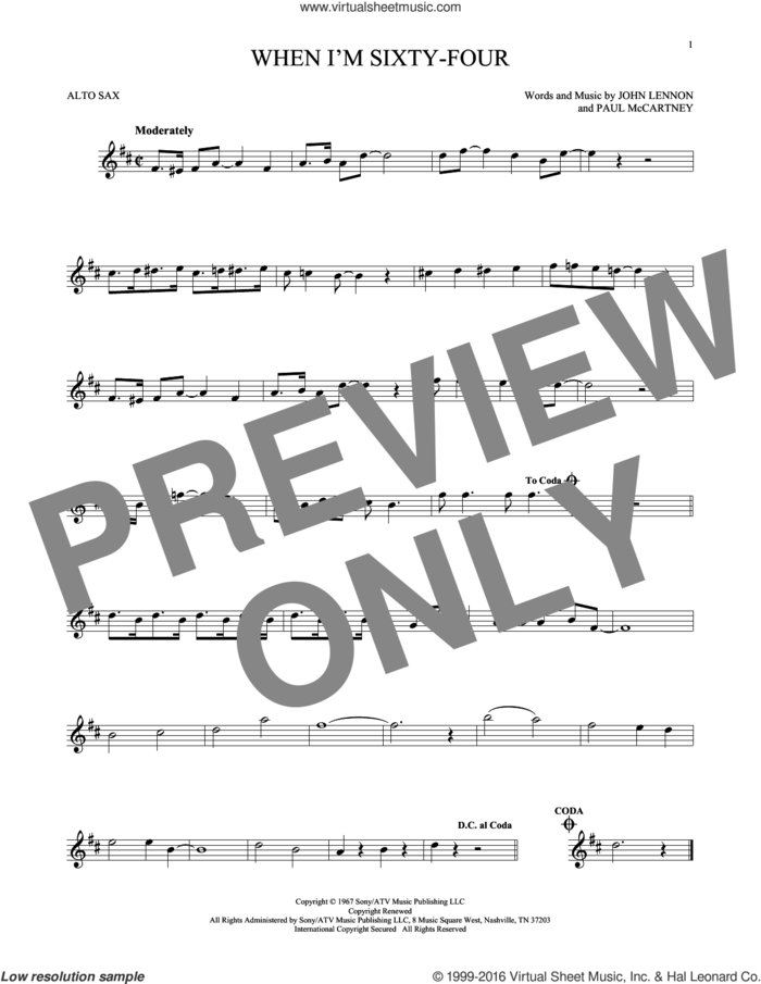 When I'm Sixty-Four sheet music for alto saxophone solo by The Beatles, John Lennon and Paul McCartney, intermediate skill level