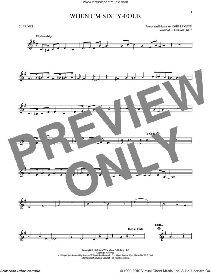 When I'm Sixty-Four sheet music for clarinet solo by The Beatles, John Lennon and Paul McCartney, intermediate skill level