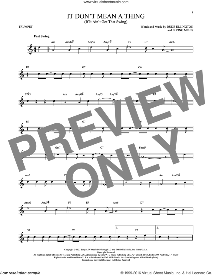 It Don't Mean A Thing (If It Ain't Got That Swing) sheet music for trumpet solo by Duke Ellington and Irving Mills, intermediate skill level
