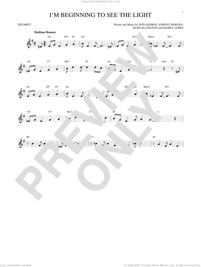 I'm Beginning To See The Light sheet music for trumpet solo by Duke Ellington, Don George, Harry James and Johnny Hodges, intermediate skill level