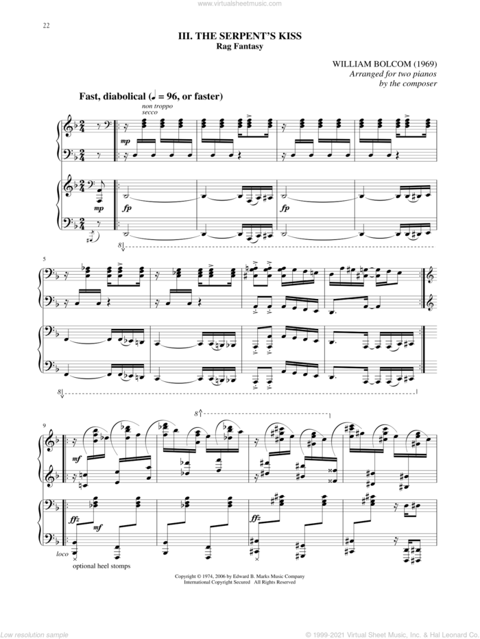 The Serpent's Kiss sheet music for two pianos by William Bolcom, intermediate duet