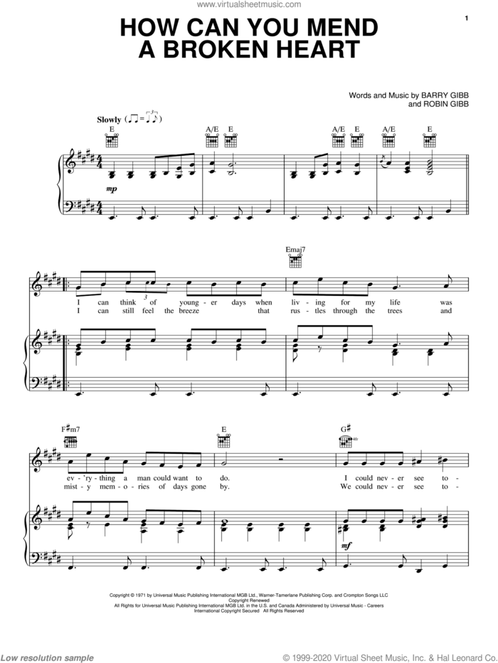 How Can You Mend A Broken Heart sheet music for voice, piano or guitar by Bee Gees, Michael Buble, Barry Gibb and Robin Gibb, intermediate skill level