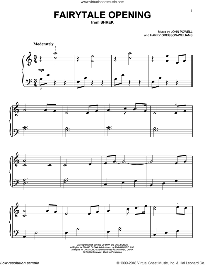 Fairytale Opening sheet music for piano solo by John Powell and Harry Gregson-Williams, beginner skill level