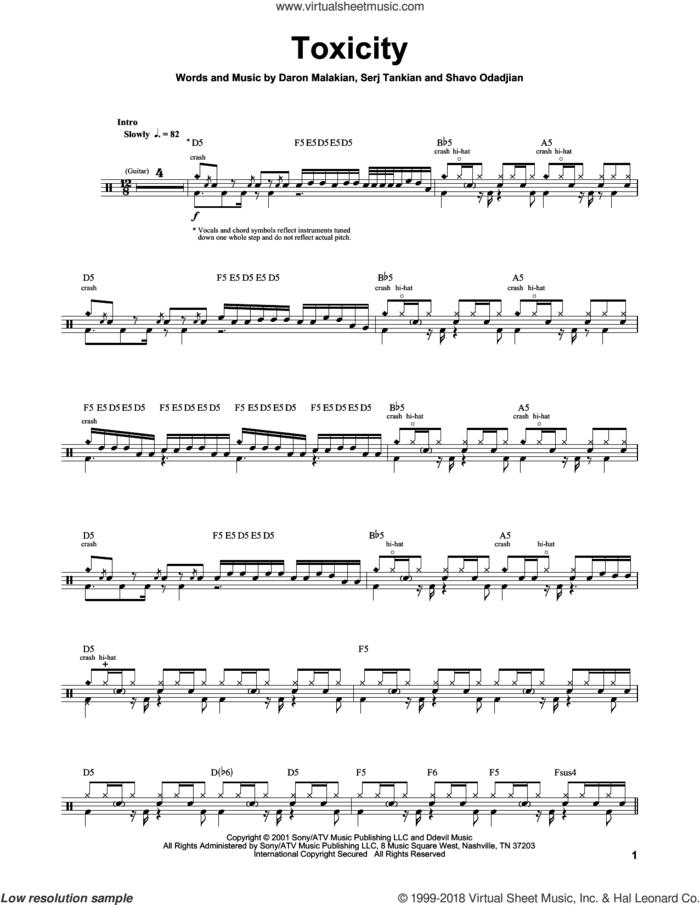 Toxicity sheet music for drums by System Of A Down, Daron Malakian, Serj Tankian and Shavo Odadjian, intermediate skill level