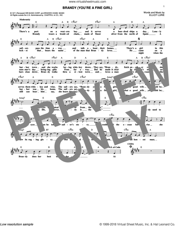 Brandy (You're A Fine Girl) sheet music for voice and other instruments (fake book) by Looking Glass and Elliot Lurie, intermediate skill level