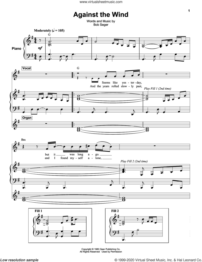 Against The Wind sheet music for keyboard or piano by Bob Seger and Bob Seger & The Silver Bullet Band, intermediate skill level
