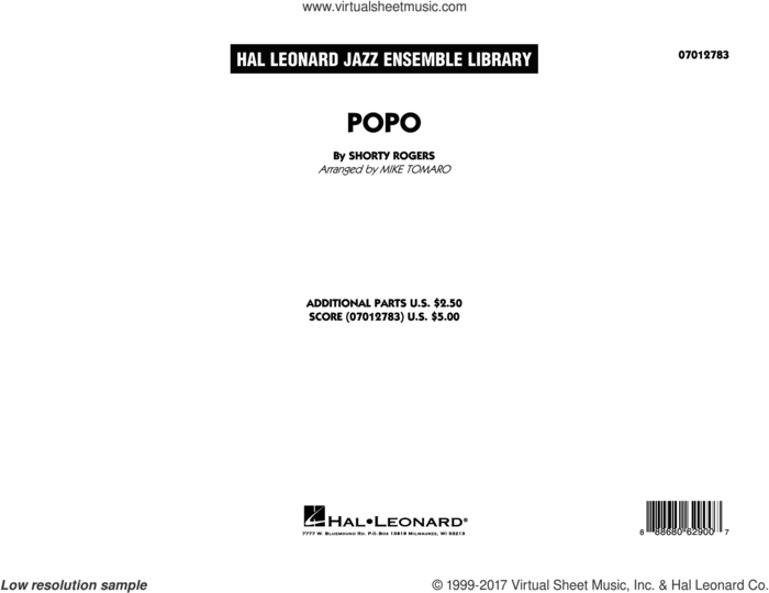 Popo (COMPLETE) sheet music for jazz band by Mike Tomaro and Shorty Rogers, intermediate skill level