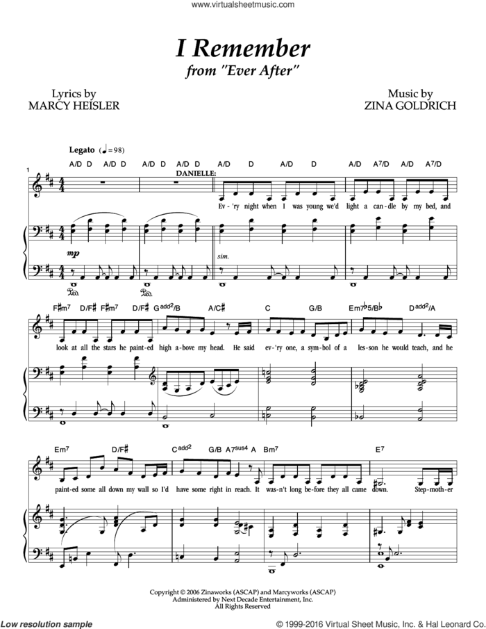 I Remember sheet music for voice and piano by Goldrich & Heisler, Marcy Heisler and Zina Goldrich, intermediate skill level