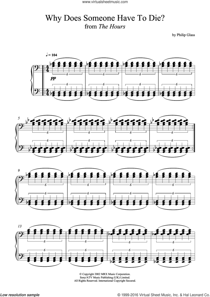 Why Does Someone Have To Die? (from The Hours) sheet music for piano solo by Philip Glass, classical score, intermediate skill level