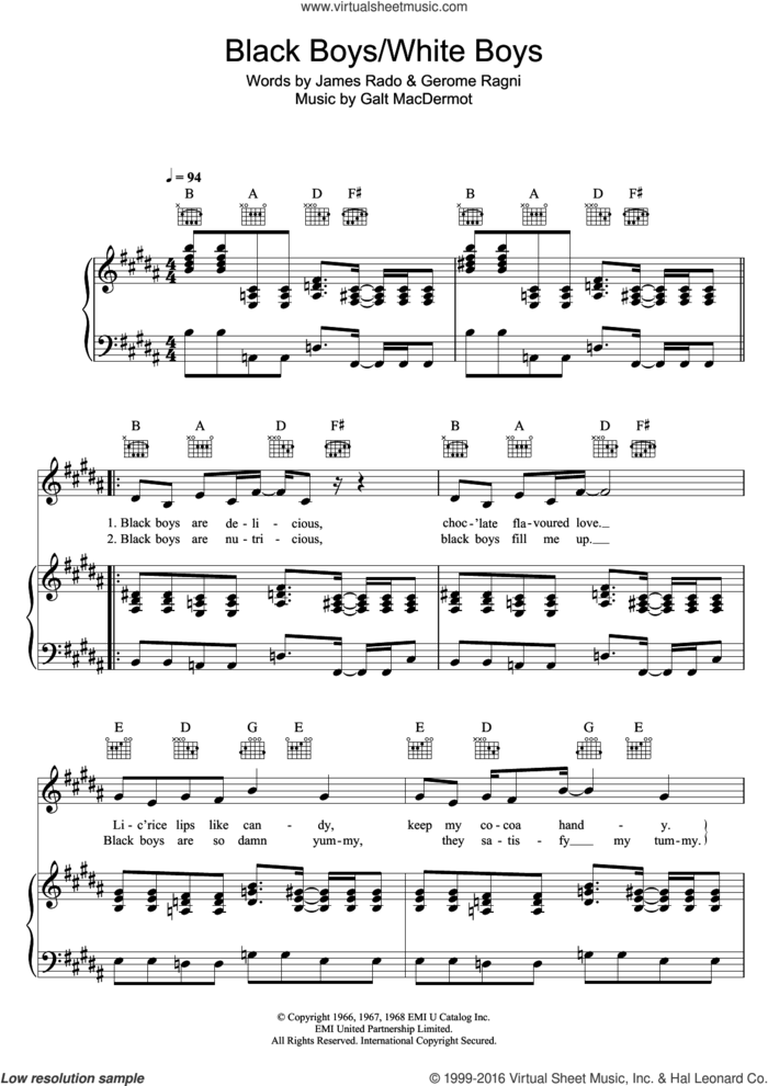 Black Boys (from 'Hair') sheet music for voice, piano or guitar by Galt MacDermot, Gerome Ragni and James Rado, intermediate skill level