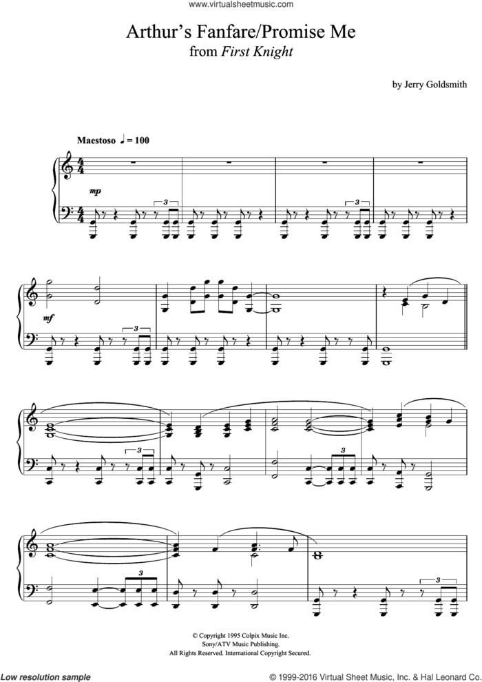 First Knight (Arthur's Fanfare / Promise Me) sheet music for piano solo by Jerry Goldsmith, intermediate skill level