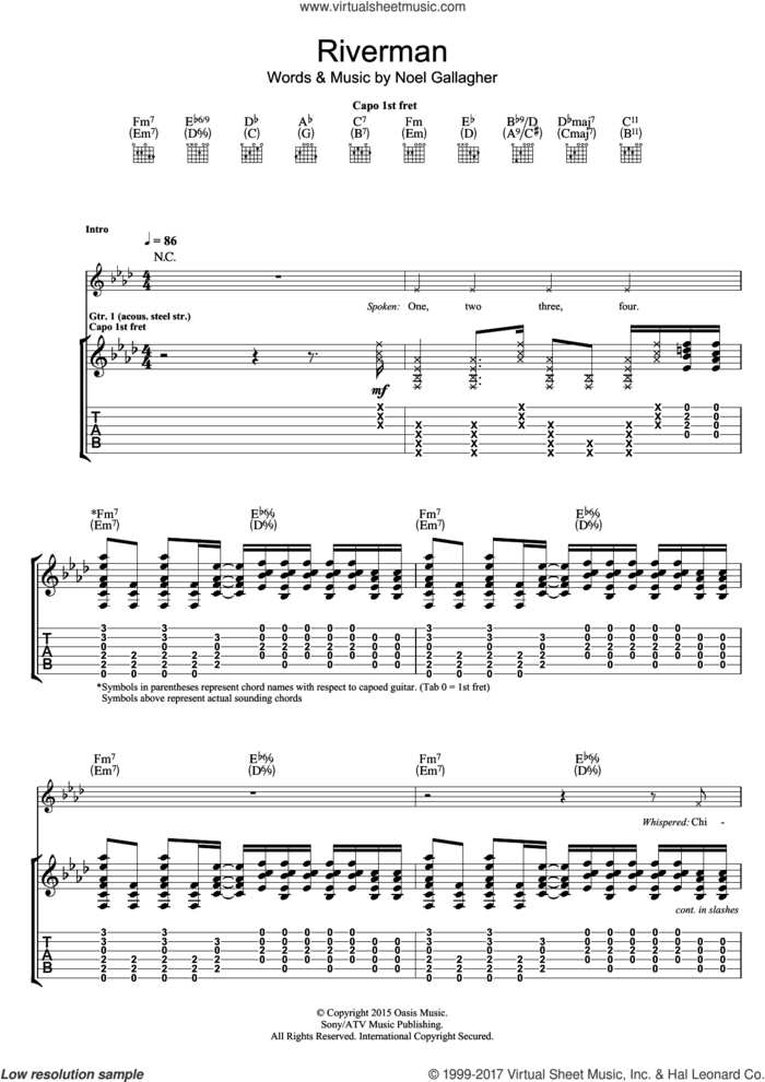 Riverman sheet music for guitar (tablature) by Noel Gallagher's High Flying Birds and Noel Gallagher, intermediate skill level