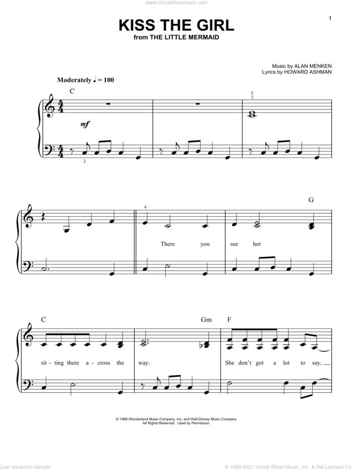 Kiss The Girl (from The Little Mermaid), (easy) sheet music for piano solo by Alan Menken, The Little Mermaid (Movie) and Howard Ashman, easy skill level