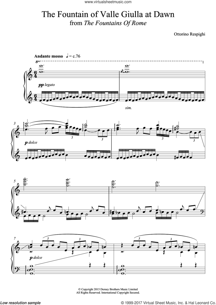 The Fountain Of Valle Giulia At Dawn (from 'The Fountains Of Rome') sheet music for piano solo by Ottorino Respighi, classical score, intermediate skill level