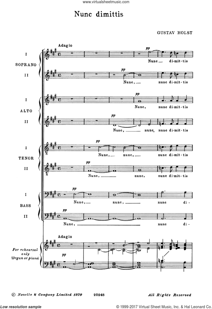 Nunc Dimittis sheet music for voice, piano or guitar by Gustav Holst, Imogen Holst and Miscellaneous, classical score, intermediate skill level