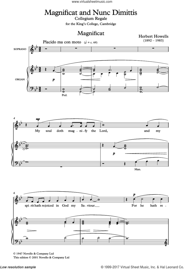 Magnificat And Nunc Dimittis sheet music for choir by Herbert Howells and Liturgical, classical score, intermediate skill level