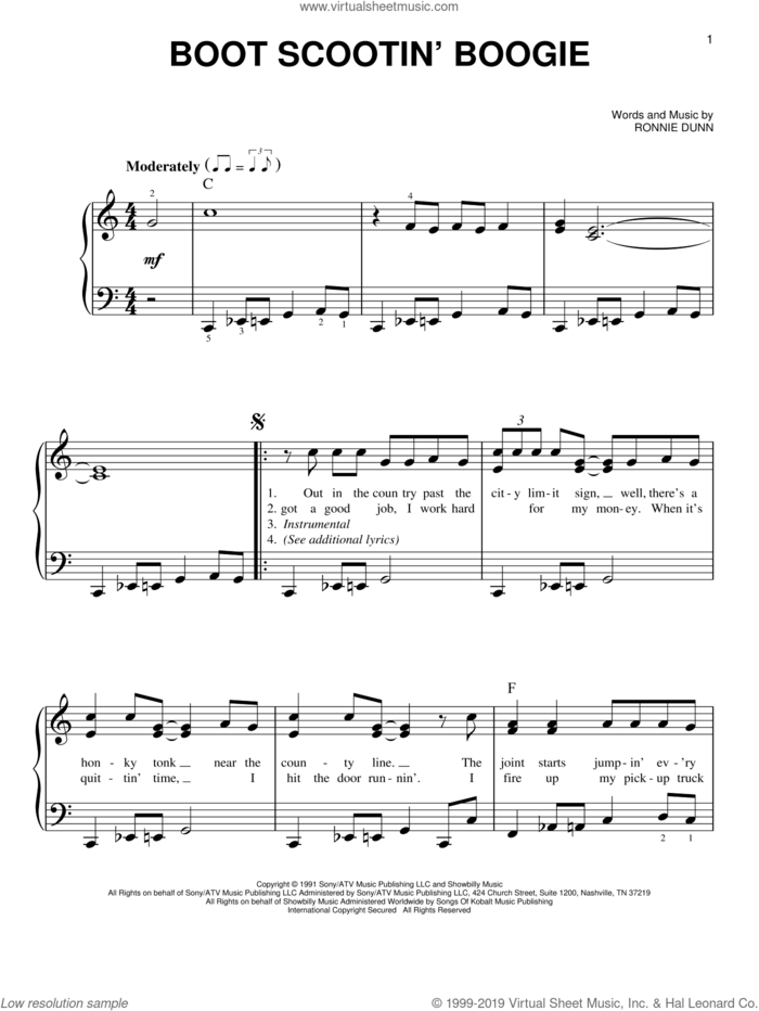 Boot Scootin' Boogie sheet music for piano solo by Brooks & Dunn and Ronnie Dunn, easy skill level