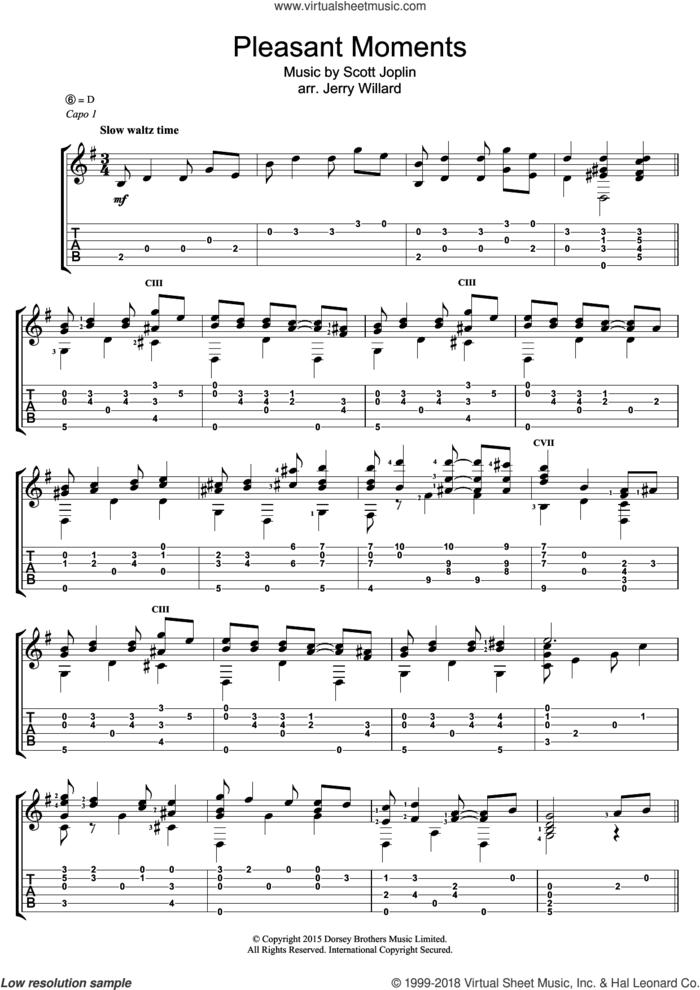 Pleasant Moments sheet music for guitar (tablature) by Scott Joplin and Jerry Willard, intermediate skill level