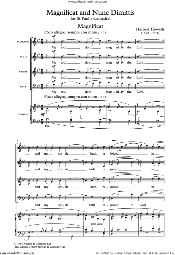 The St. Paul's Cathedral Magnificat And Nunc Dimittis sheet music for choir (SATB: soprano, alto, tenor, bass) by Herbert Howells, classical score, intermediate skill level