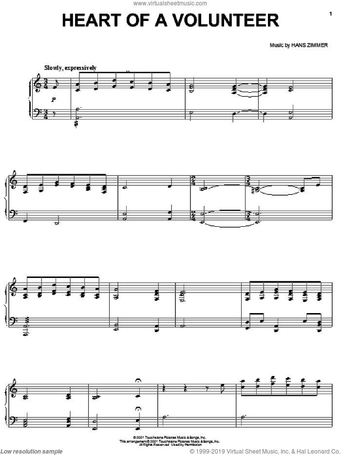 Heart Of A Volunteer sheet music for piano solo by Hans Zimmer and Pearl Harbor (Movie), intermediate skill level