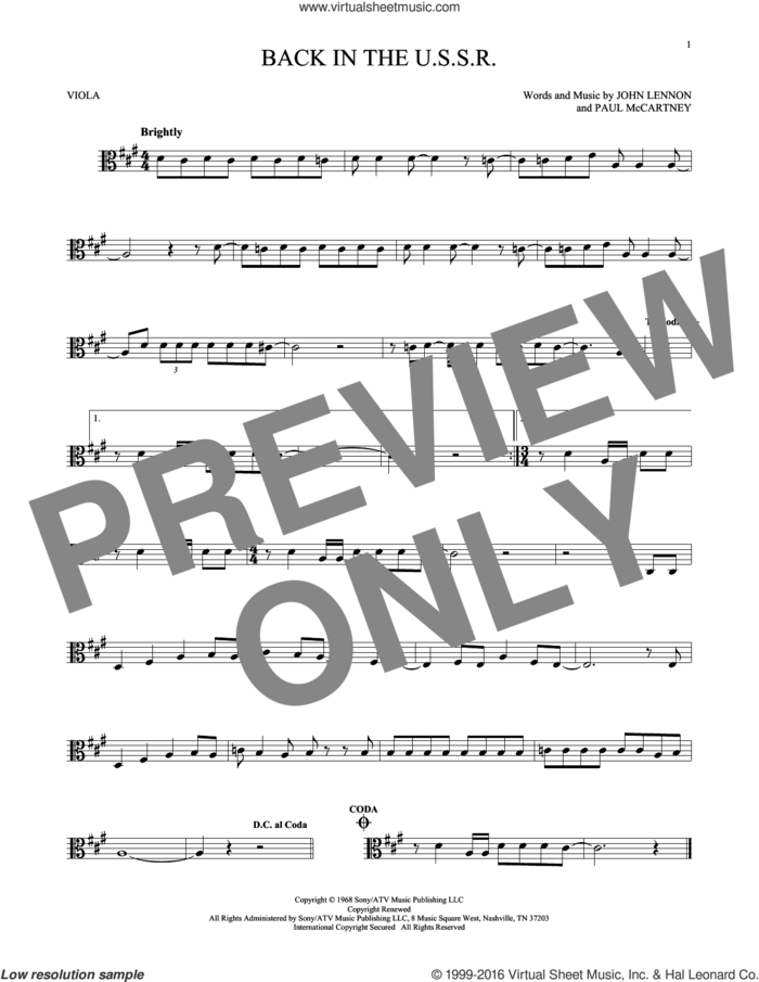 Back In The U.S.S.R. sheet music for viola solo by The Beatles, John Lennon and Paul McCartney, intermediate skill level