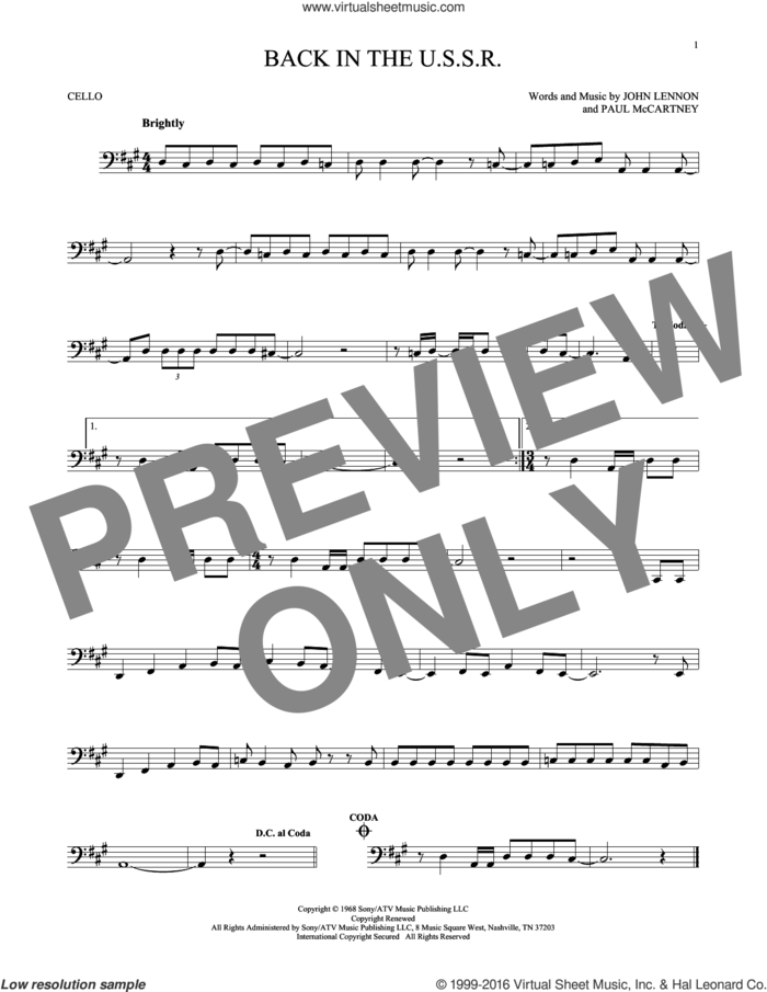 Back In The U.S.S.R. sheet music for cello solo by The Beatles, Chubby Checker, John Lennon and Paul McCartney, intermediate skill level