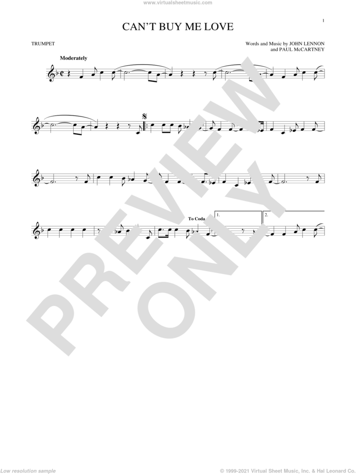 Can't Buy Me Love sheet music for trumpet solo by The Beatles, John Lennon and Paul McCartney, intermediate skill level