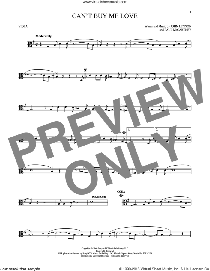 Can't Buy Me Love sheet music for viola solo by The Beatles, John Lennon and Paul McCartney, intermediate skill level