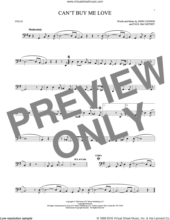 Can't Buy Me Love sheet music for cello solo by The Beatles, John Lennon and Paul McCartney, intermediate skill level
