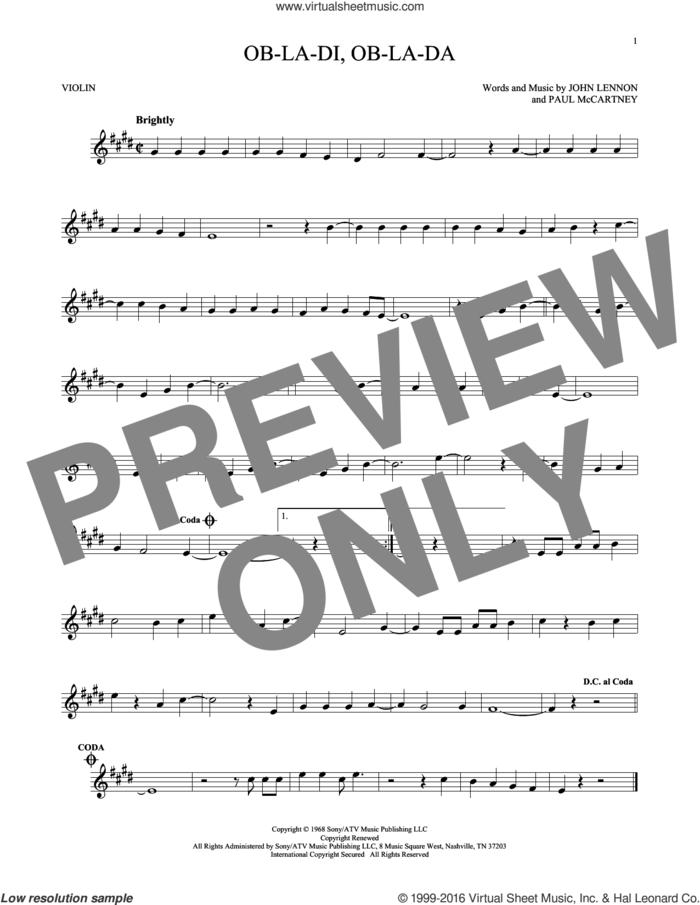 Ob-La-Di, Ob-La-Da sheet music for violin solo by The Beatles, John Lennon and Paul McCartney, intermediate skill level