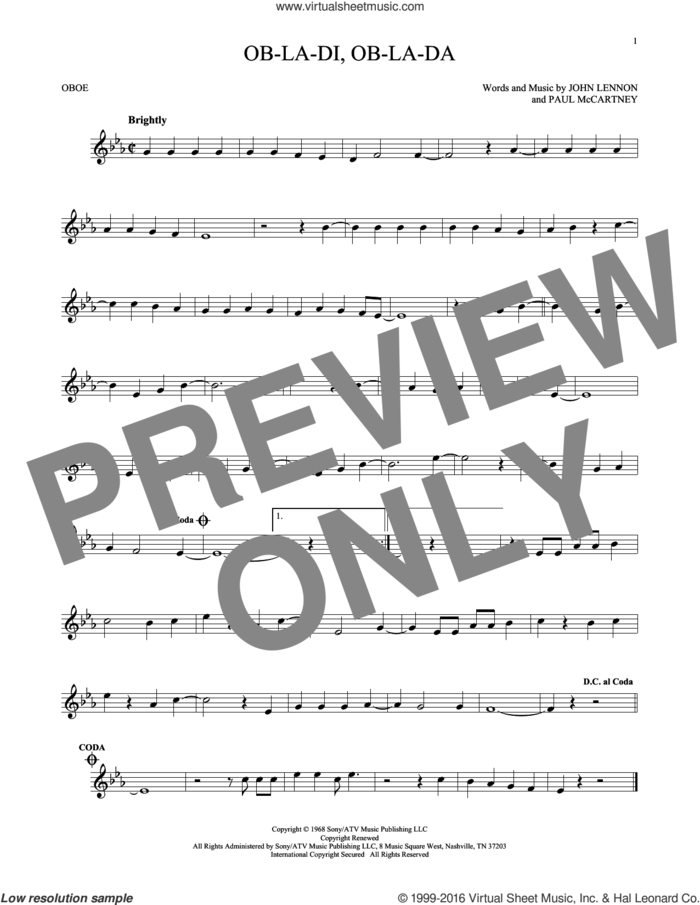 Ob-La-Di, Ob-La-Da sheet music for oboe solo by The Beatles, John Lennon and Paul McCartney, intermediate skill level