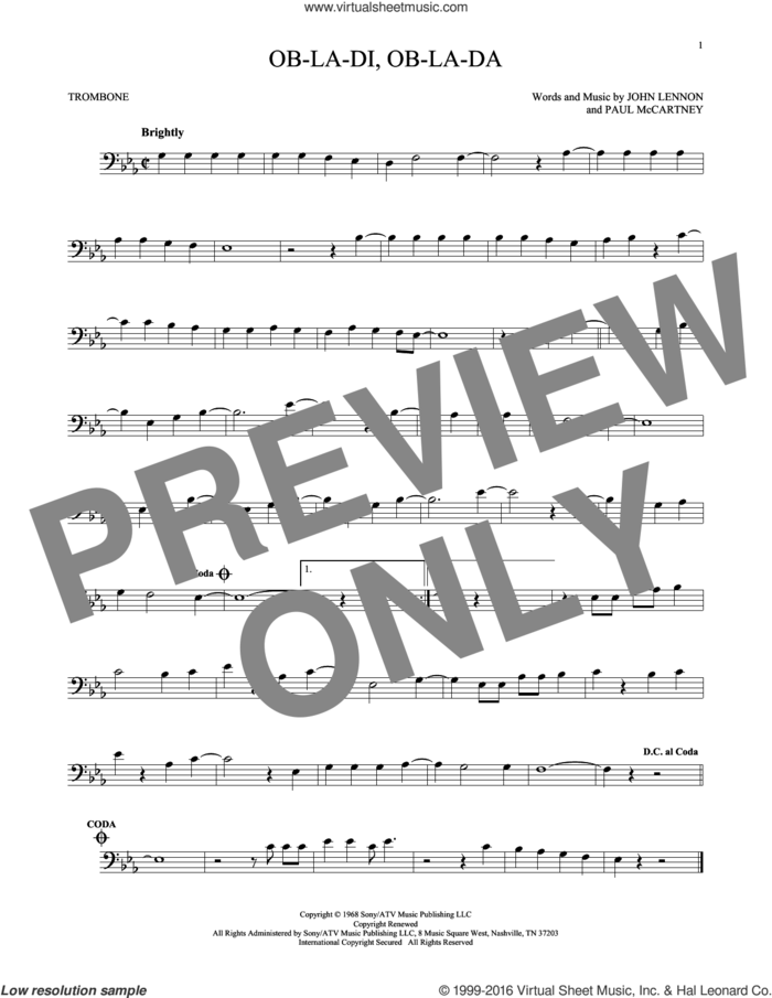 Ob-La-Di, Ob-La-Da sheet music for trombone solo by The Beatles, John Lennon and Paul McCartney, intermediate skill level
