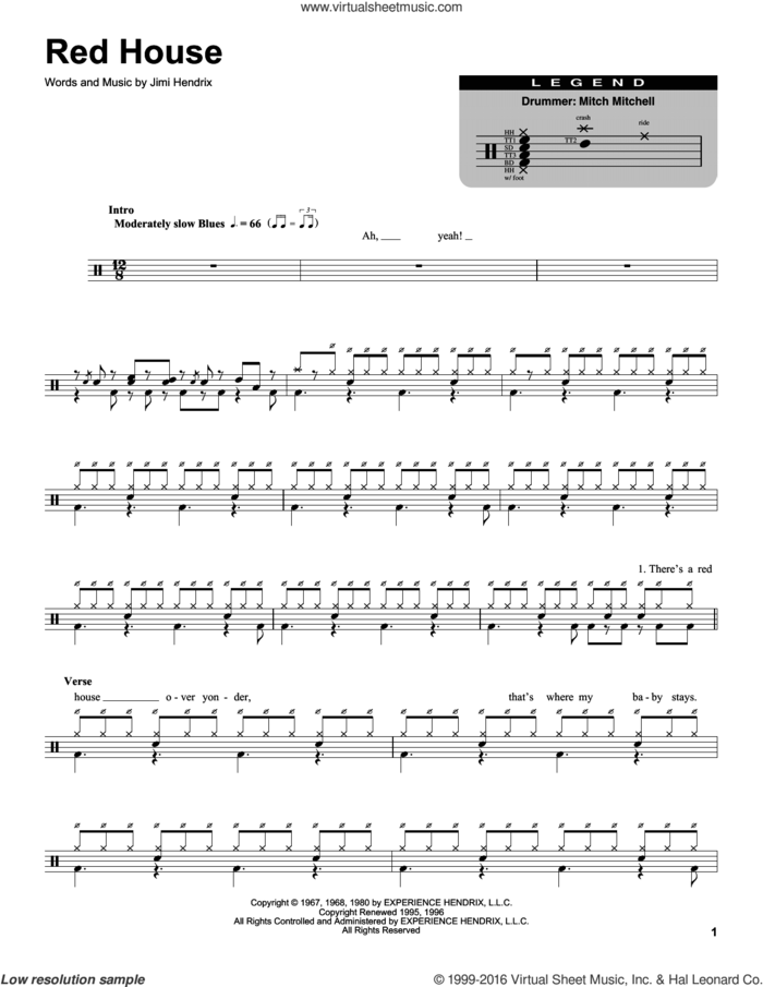 Red House sheet music for drums by Jimi Hendrix, intermediate skill level