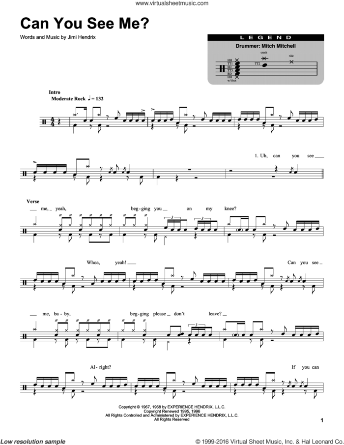 Can You See Me sheet music for drums by Jimi Hendrix, intermediate skill level