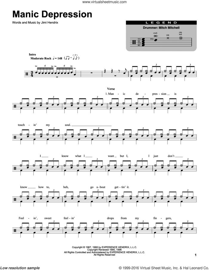 Manic Depression sheet music for drums by Jimi Hendrix, intermediate skill level