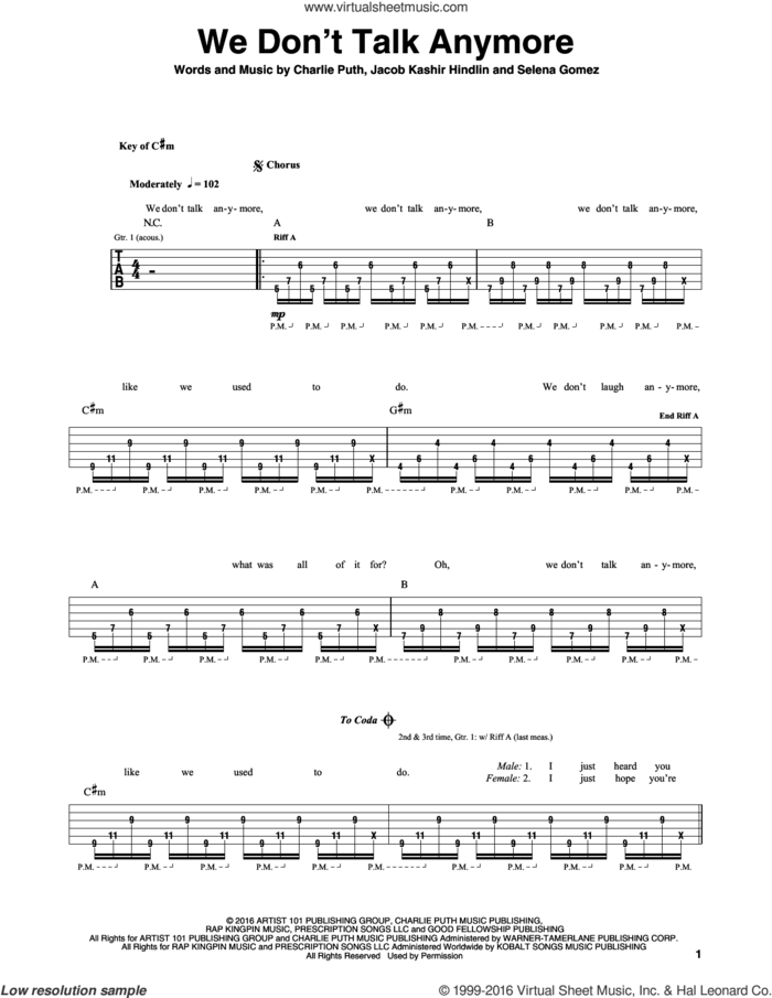 We Don't Talk Anymore sheet music for guitar (rhythm tablature) by Charlie Puth feat. Selena Gomez, Charlie Puth, Jacob Kasher Hindlin and Selena Gomez, intermediate skill level