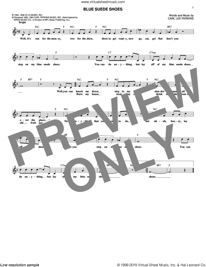 Blue Suede Shoes sheet music for voice and other instruments (fake book) by Carl Perkins and Elvis Presley, intermediate skill level