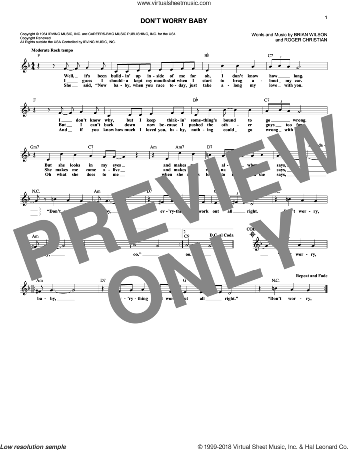 Don't Worry Baby sheet music for voice and other instruments (fake book) by The Beach Boys, Brian Wilson and Roger Christian, intermediate skill level