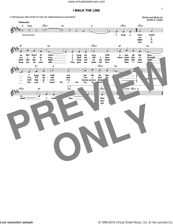 I Walk The Line sheet music for voice and other instruments (fake book) by Johnny Cash, intermediate skill level