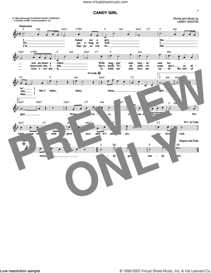 Candy Girl sheet music for voice and other instruments (fake book) by The Four Seasons and Larry Santos, intermediate skill level