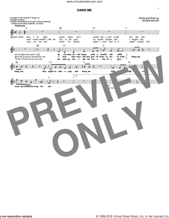 Dang Me sheet music for voice and other instruments (fake book) by Roger Miller, intermediate skill level