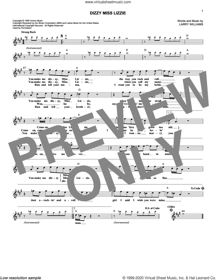 Dizzy Miss Lizzie sheet music for voice and other instruments (fake book) by Larry Williams and The Beatles, intermediate skill level