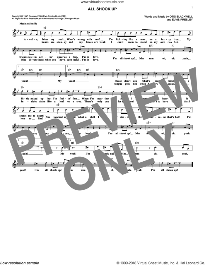 All Shook Up sheet music for voice and other instruments (fake book) by Elvis Presley and Otis Blackwell, intermediate skill level