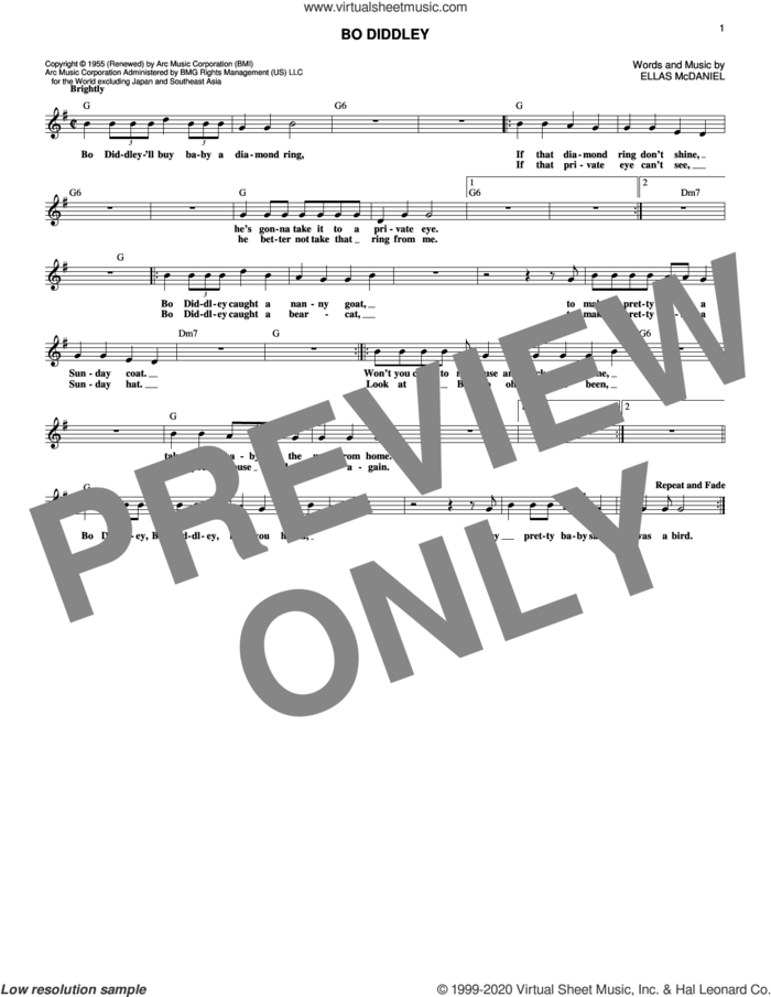 Bo Diddley sheet music for voice and other instruments (fake book) by Ellas McDaniels and Bo Diddley, intermediate skill level