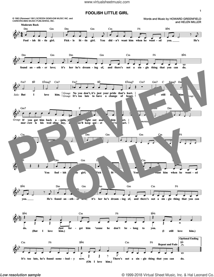 Foolish Little Girl sheet music for voice and other instruments (fake book) by The Shirelles, Helen Miller and Howard Greenfield, intermediate skill level