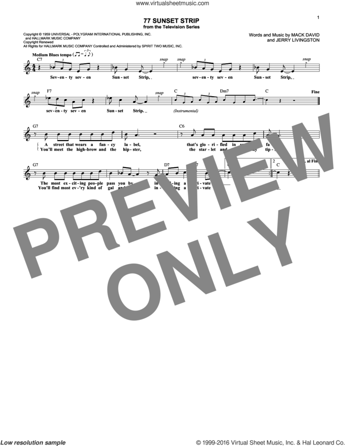 77 Sunset Strip sheet music for voice and other instruments (fake book) by Don Ralke, Jerry Livingston and Mack David, intermediate skill level