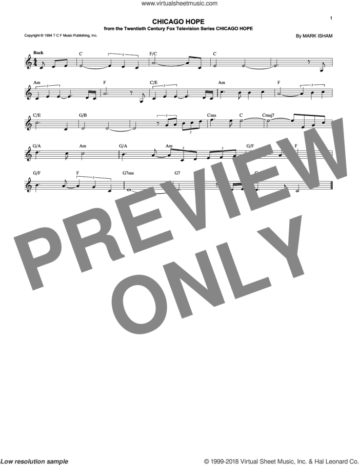 Chicago Hope sheet music for voice and other instruments (fake book) by Mark Isham, intermediate skill level