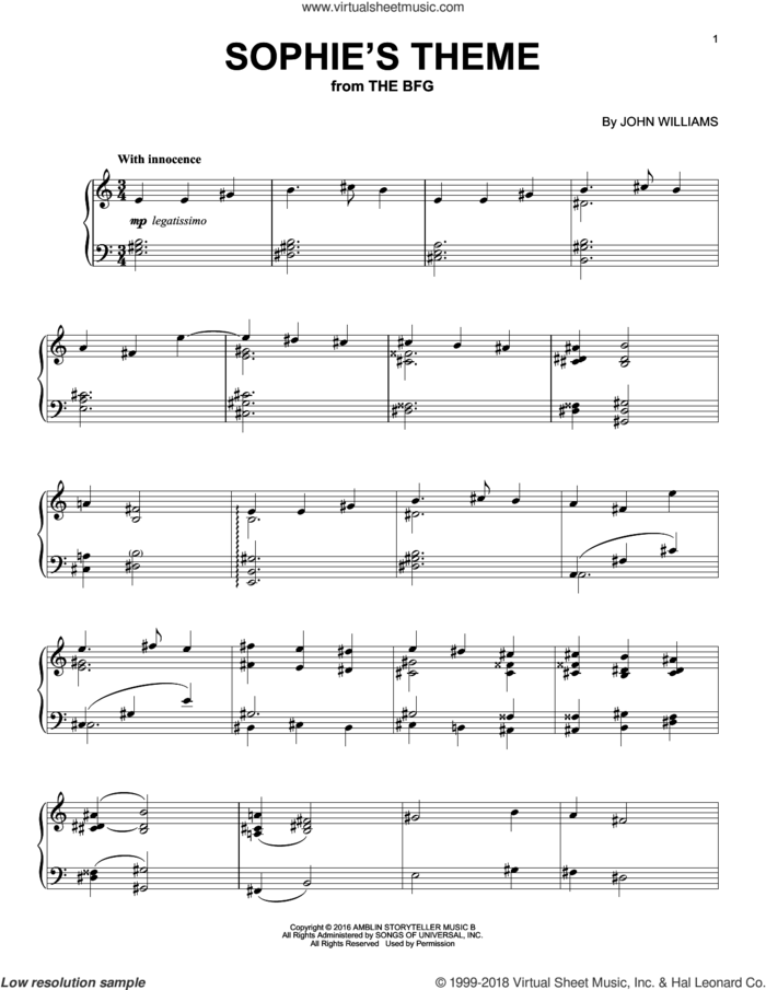Sophie's Theme sheet music for piano solo by John Williams, intermediate skill level