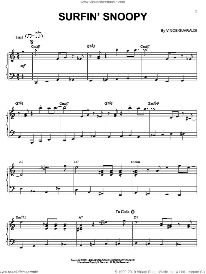 Surfin' Snoopy sheet music for piano solo by Vince Guaraldi, intermediate skill level